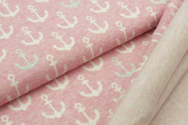 Jacquard-Sweat Mia off white und pastell mint Anker auf pastell pink Melange