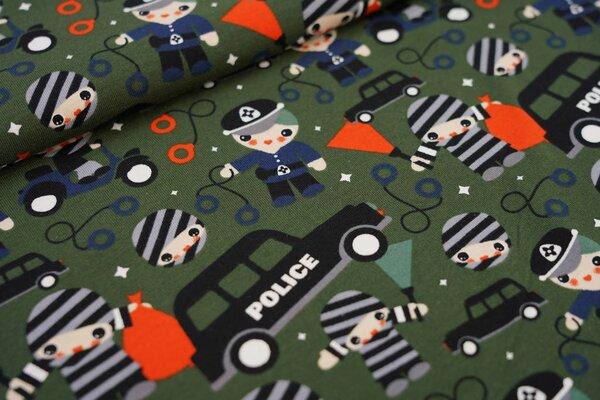 Baumwoll-Jersey Polizist und Gefangener Polizeiauto auf khaki grün