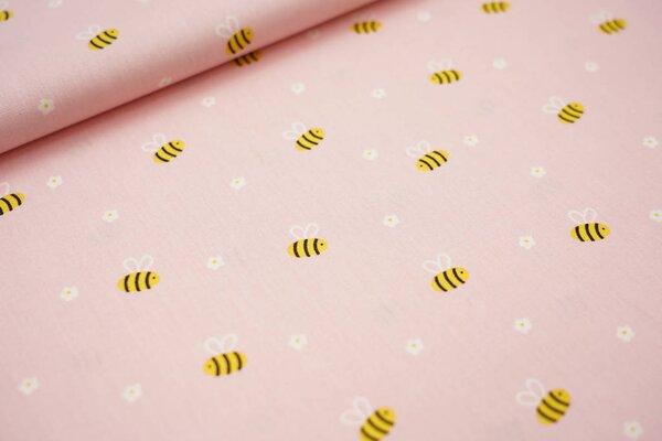 Baumwolle Bienen und Blumen auf lachs