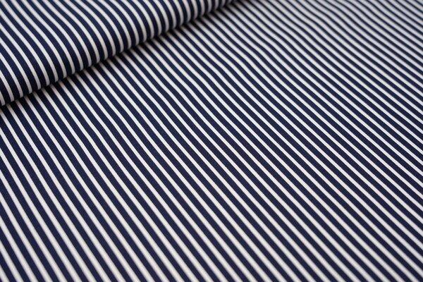 Baumwollstoff schmale Streifen dunkelblau / weiß Baumwolle