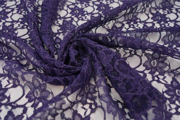 Elastische Spitze mit Blumen-Muster dunkel lila