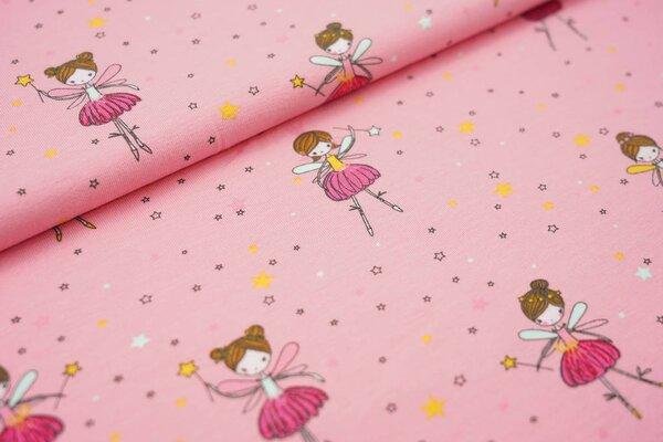 Baumwoll-Jersey Ballerina Feen Elfen und Sterne auf hell pink