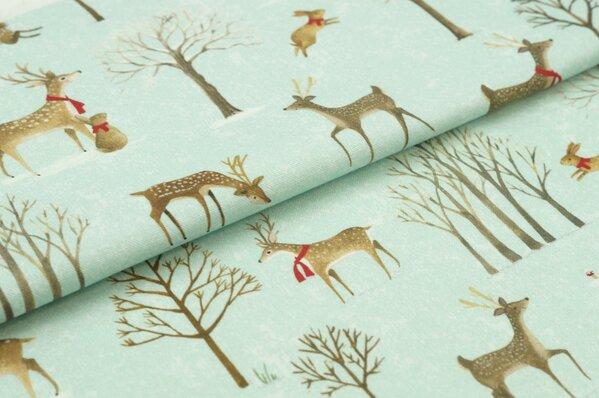 Dekostoff Digitaldruck Leinenoptik Waldtiere im Winter auf hellmint Rehe Hasen