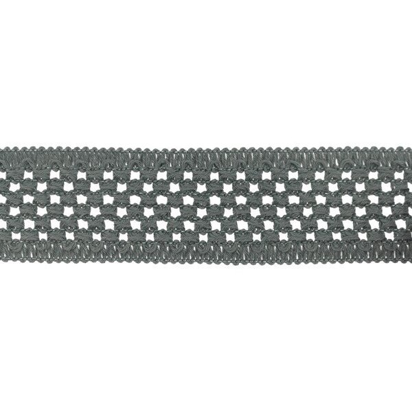 Elastisches Baumwollband in Häkeloptik uni dunkelgrau 50 mm