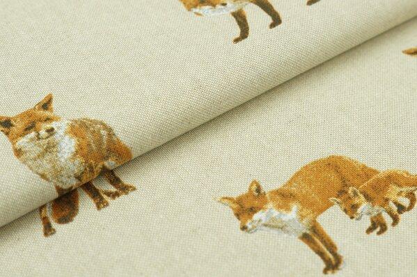 Dekostoff Canvas Füchse Fuchs Leinenoptik natur