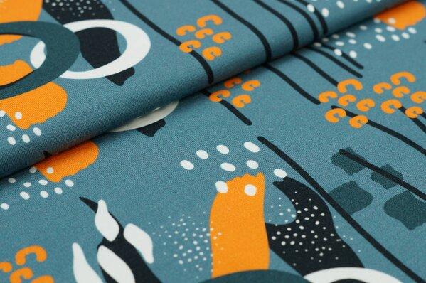 Baumwoll-Jersey Digitaldruck abstraktes Blumen-Muster blaugrau orange