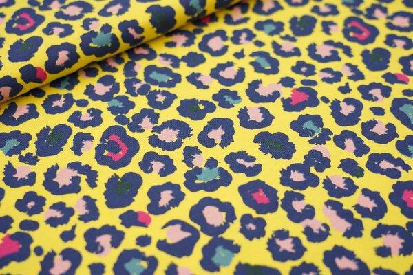 Baumwoll-Jersey buntes Leoparden Muster auf gelb