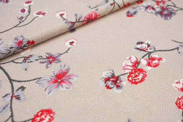 Viskose-Jersey Zweige und Punkte beige / weiß Blumen Blüten