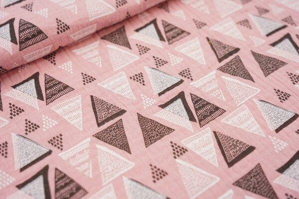 Musselin Stoff Double weiße und schwarze Dreiecke auf pastell rosa