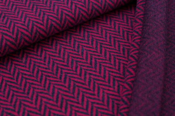 Kuschel Jacquard-Sweat Max XXL Fischgrätmuster amarant pink / navy blau Melange