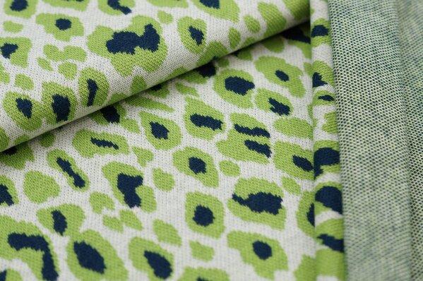 Jacquard-Sweat Ben mit Leoparden Design off white / hellgrün / navy blau