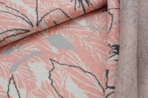 Jacquard-Sweat Ben Blätter Muster lachs / off white / dunkelgrau / hellgrau