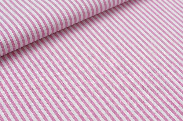 Baumwollstoff Baumwolle Streifen pink / weiß meliert