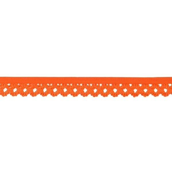 Elastisches Zierband Gummiband mit Rüschen Blumen Spitze uni orange 20 mm
