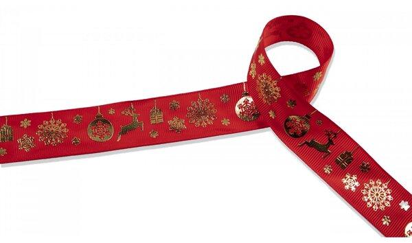 Webband Weihnachtsgeschenke Rentiere Eiskristalle rot gold 25 mm Zierband Dekoband Weihnachten