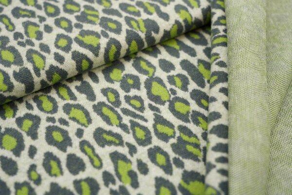 Jacquard-Jersey Leoparden Design off white / dunkelgrau / hellgrün