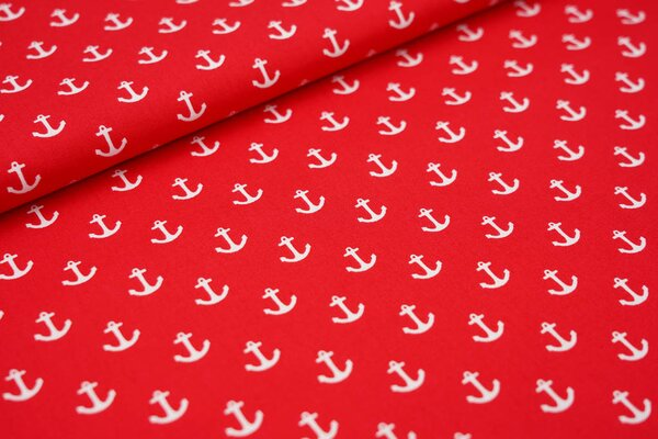 Baumwolle weiße Anker auf rot maritim