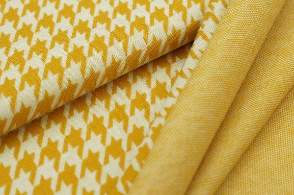 Jacquard-Sweat Ben mit Hahnentritt Muster senf und off white