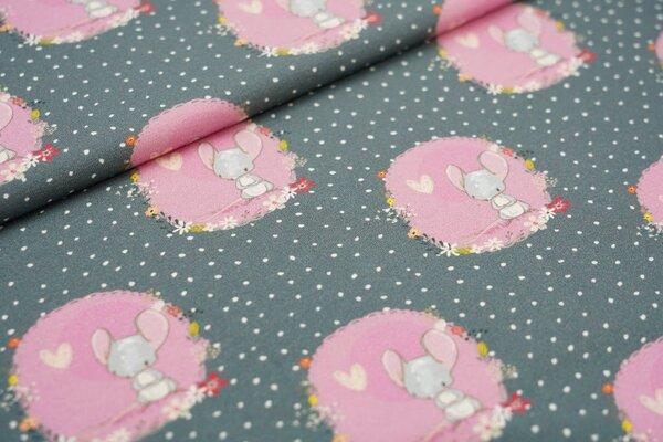 Traumbeere Baumwoll-Jersey Digitaldruck Mäuschen mit Punkten Maus Blumen auf dunkelgrau
