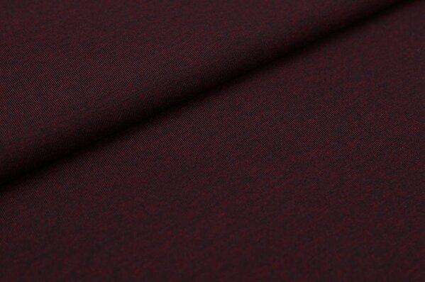 Baumwoll-Jersey uni dunkelbordeaux mit grau meliert