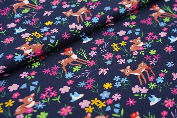 Baumwoll-Jersey Rehe Blumen Schmetterlinge und Vögel auf sehr dunkelblau