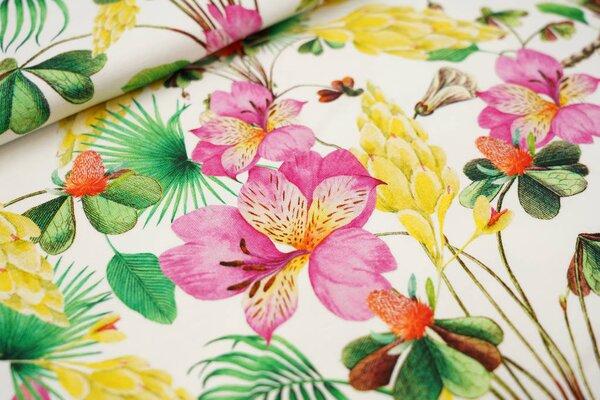 Baumwoll-Jersey Digitaldruck bunte Blumen Farne Blätter Pflanzen auf ecru weiß