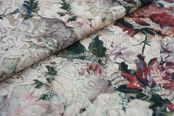 Spitze mit Digitaldruck Blumen Muster auf pastell rosa Spitzen-Stoff