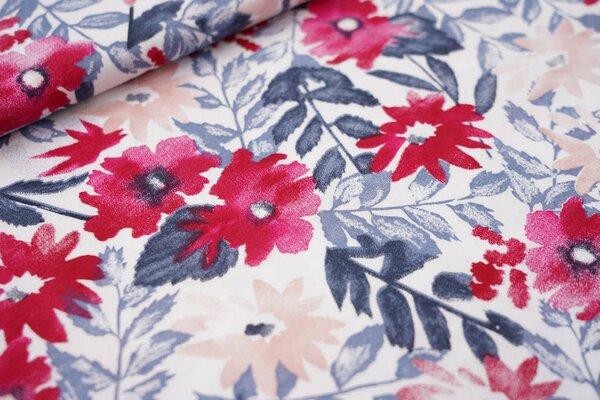 Sommer T-Shirt-Stoff / leichter Jersey Aquarell Blumen weiß rot lachs blau