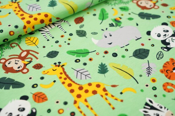 Baumwoll-Jersey Tiere und Punkte Panda Affe Zebra Nashorn Giraffe Tiger hellgrün