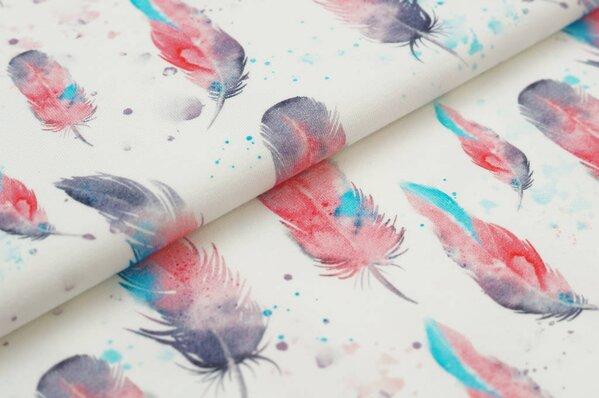 Traumbeere Baumwoll-Jersey Digitaldruck Aquarell Federn off white dunkelrosa türkis grau