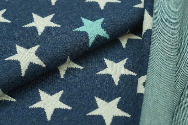 Jacquard-Sweat Mia off white / eisblaue Sterne auf navy blau Melange