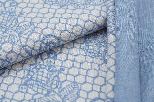 Jacquard-Sweat Mia pastell jeansblau Melange Blumen Muster auf off white