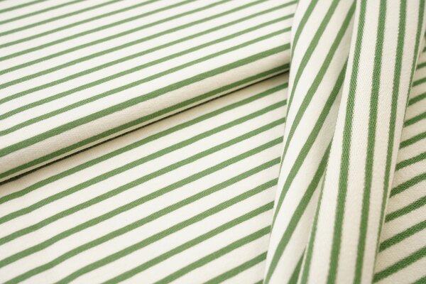 Traumbeere XXL Baumwoll-Sweat Marie Streifen Ringel schmal grasgrün und off white
