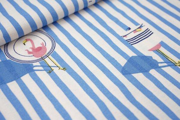 Canvas-Stoff Dekostoff in Leinenoptik maritime Streifen und Flamingo blau / weiß