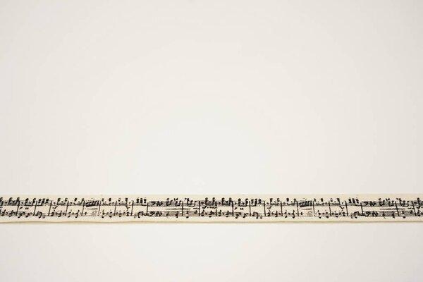 Webband schwarze Musiknoten auf natur 15 mm Zierband Dekoband