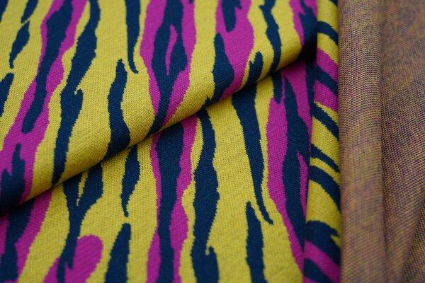Jacquard-Sweat Ben Tigerfell Design amarant pink / navy blau / senf