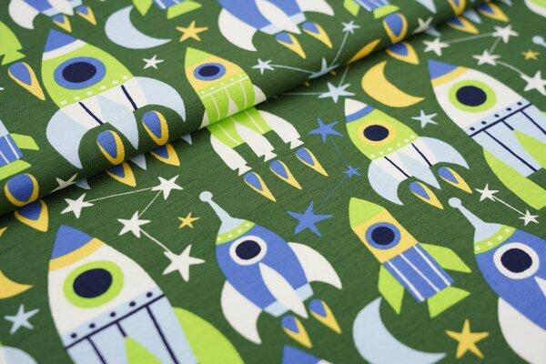 Baumwoll-Jerseystoff große Raketen und Sterne grün / blau / weiß / gelb