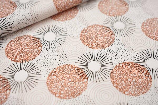 Baumwollstoff große Kreise Punkte weiß / schwarz / rostorange / pastell rosa