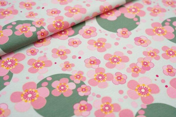 Baumwoll-Jersey Blumen Blüten und Kreise Punkte hellgrün / rosa / dunkelgrün
