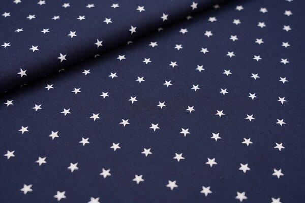 Baumwolle weiße Sterne auf dunkelblau maritim