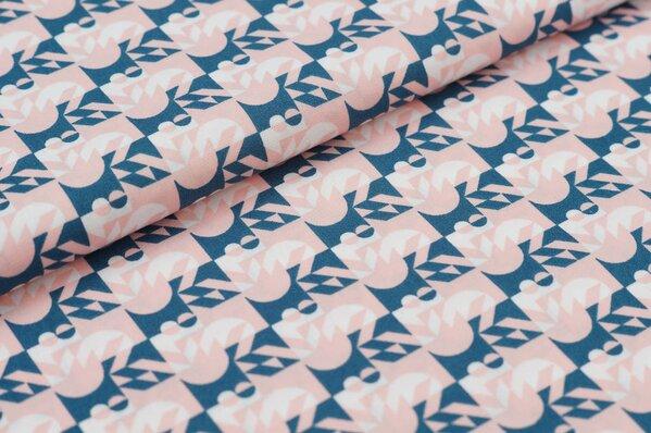 Baumwollstoff Retro Design Geometrie Muster lachsrosa / petrol / weiß Baumwolle
