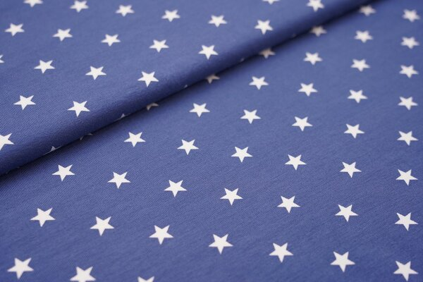 Baumwoll-Jersey weisse Sterne auf jeansblau taupeblau