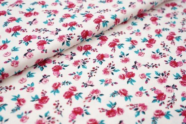 Baumwoll-Jersey mit Rosen weiß / grün / pink / rosa / schwarz Blumen