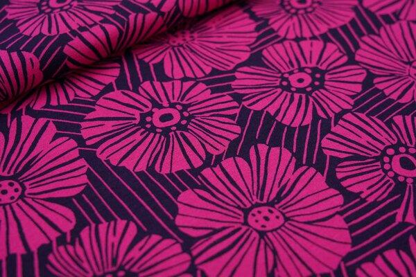 Interlock Jersey große pinke Blumen Blüten mit Strichen auf sehr dunkelblau