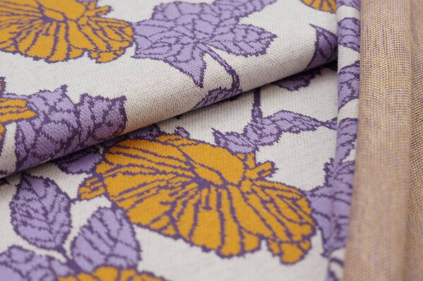 Jacquard-Sweat Ben Blumen-Muster mit Blättern off white hell lila lila senf