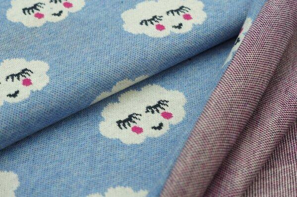 Jacquard-Sweat Mia Wolken mit Gesicht auf pastell jeansblau
