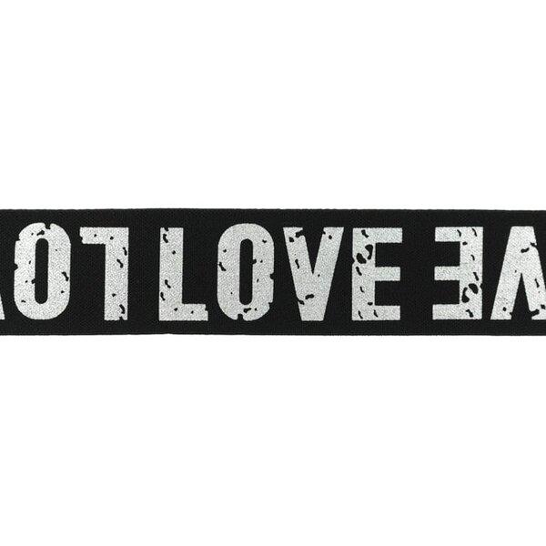 Breites Gummiband schwarz mit silbernem LOVE Schriftzug 40 mm