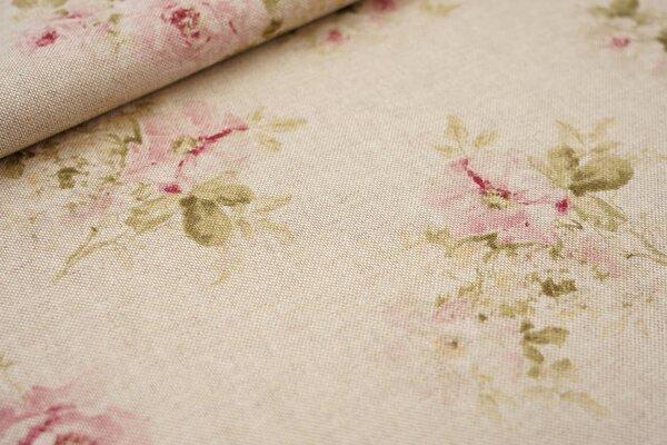 Canvas-Stoff Dekostoff in Leinenoptik Rosen klein natur / rosa / hellgrün / weiß