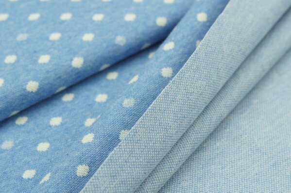 Jacquard-Sweat Mia off white Punkte auf pastell jeansblau Melange