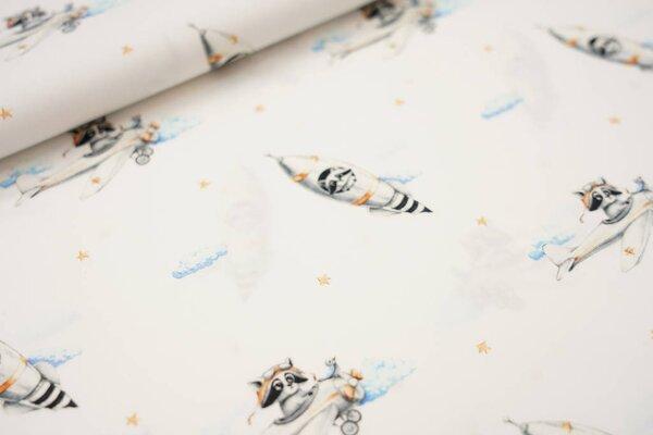 Baumwollstoff Waschbären im Weltall Rakete Flugzeug Wolken Sterne weiß